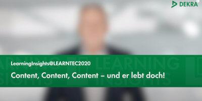 "Content, Content, Content: Teil fünf von ""LearningInsights@LEARNTEC2020"" jetzt online"